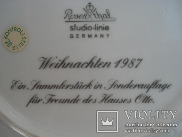 Коллекционная тарелка Rosenthal Weihnachten 1987. Художница Линнеа Рут Брюк., фото №10
