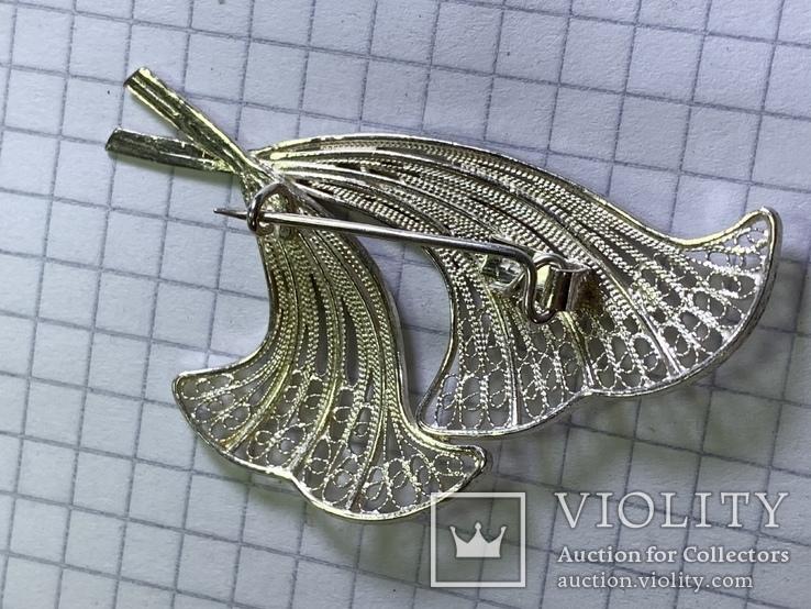 Винтажная брошь 925 серебро, фото №3