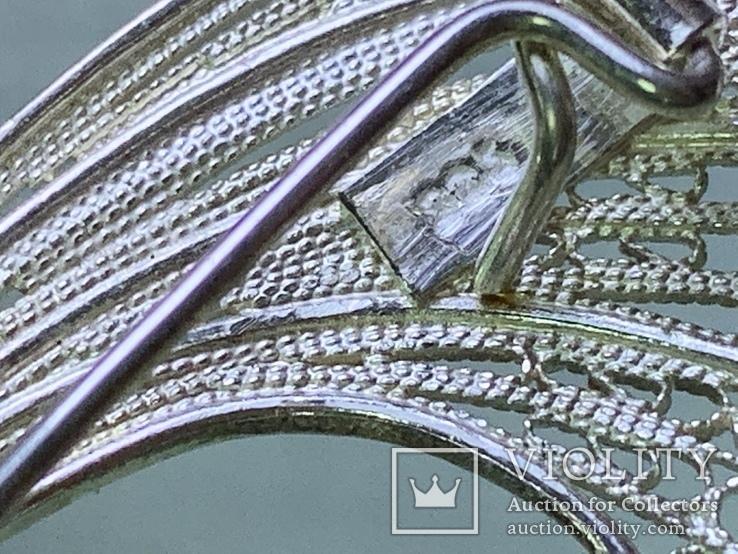 Винтажная брошь 925 серебро, фото №4