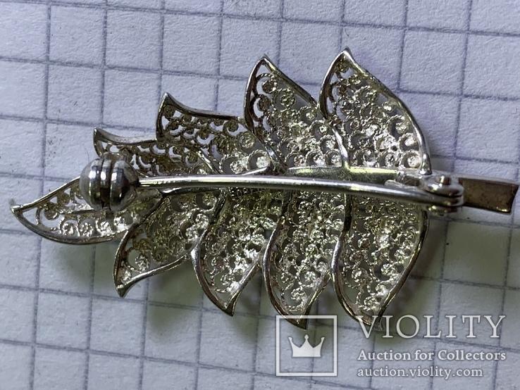 Винтажная серебряная брошь в виде листика, фото №3