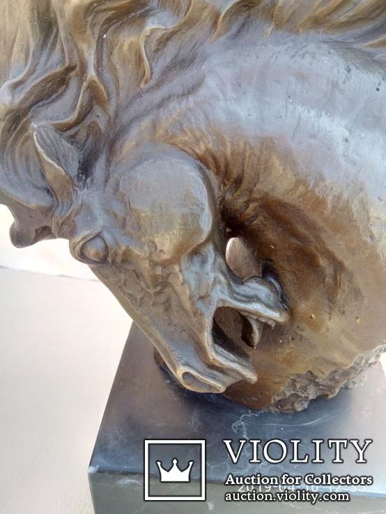 Голова лошади бронза мрамор Европа 4 кг, фото №3