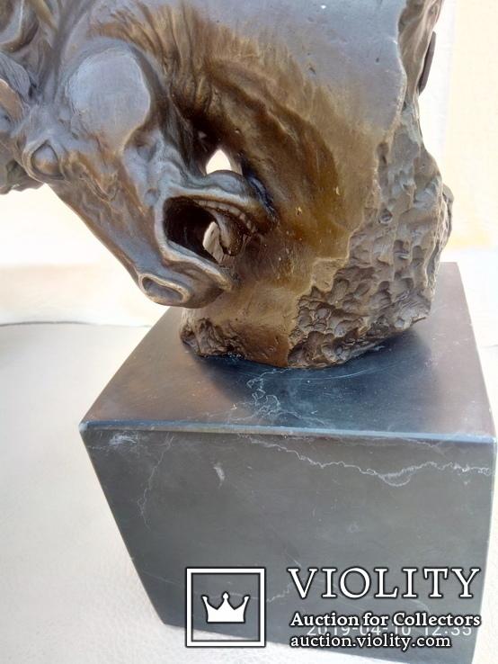 Голова лошади бронза мрамор Европа 4 кг, фото №6