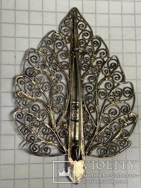 Серебро 835 Брошь вскидки листика 7,9 грамм, фото №3