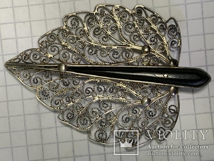 Серебро 835 Брошь вскидки листика 7,9 грамм, фото №6