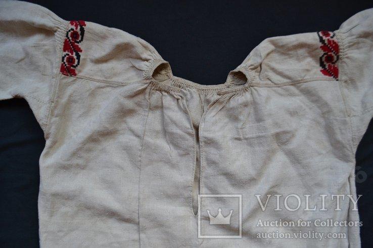 Старин вышитая сорочка. Вышиванка. Конопляное домотканое полотно. Объёмная вышивка. 117х68, фото №6