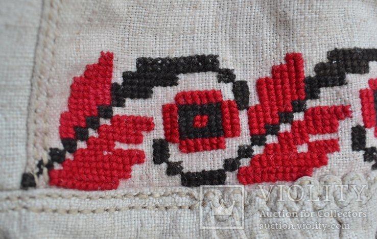 Старин вышитая сорочка. Вышиванка. Конопляное домотканое полотно. Объёмная вышивка. 117х68, фото №8