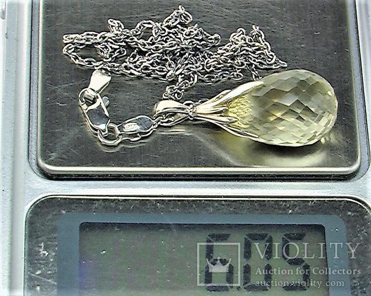 Подвеска кулон и цепочка длина 45 см серебро 925 проба 3,79 грамма Рыбы, фото №6