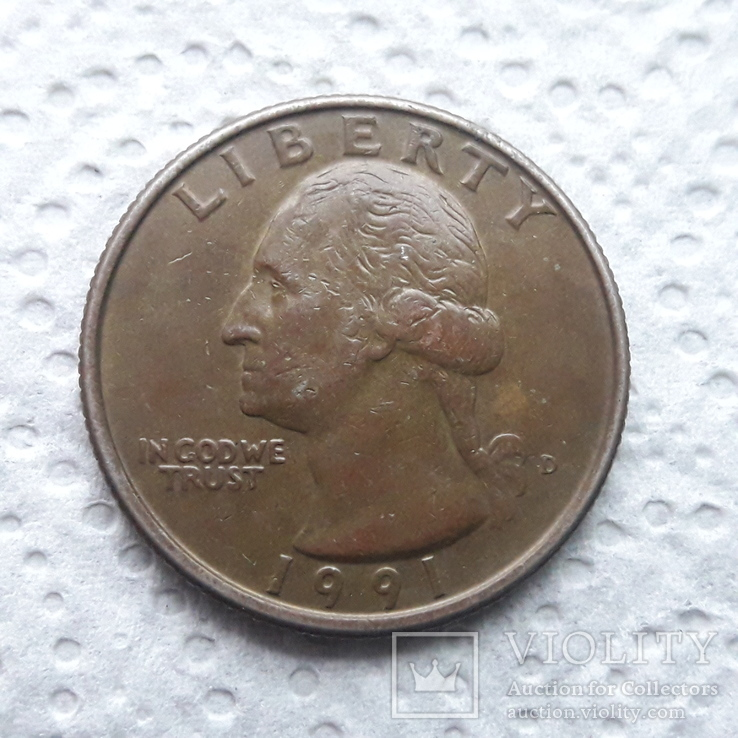 25 центов 1991 года D, фото №2