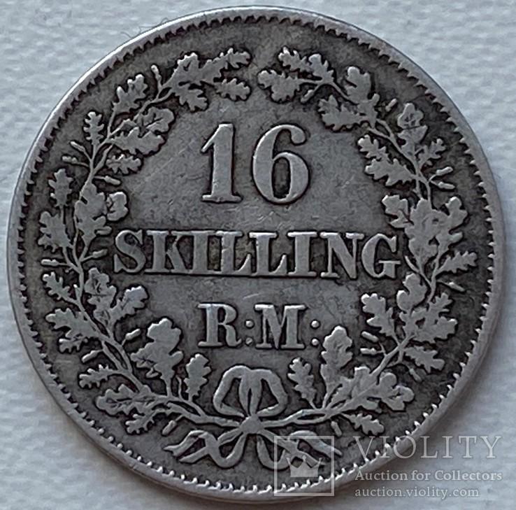 Дания 16 скиллингов 1856 год серебро, фото №2