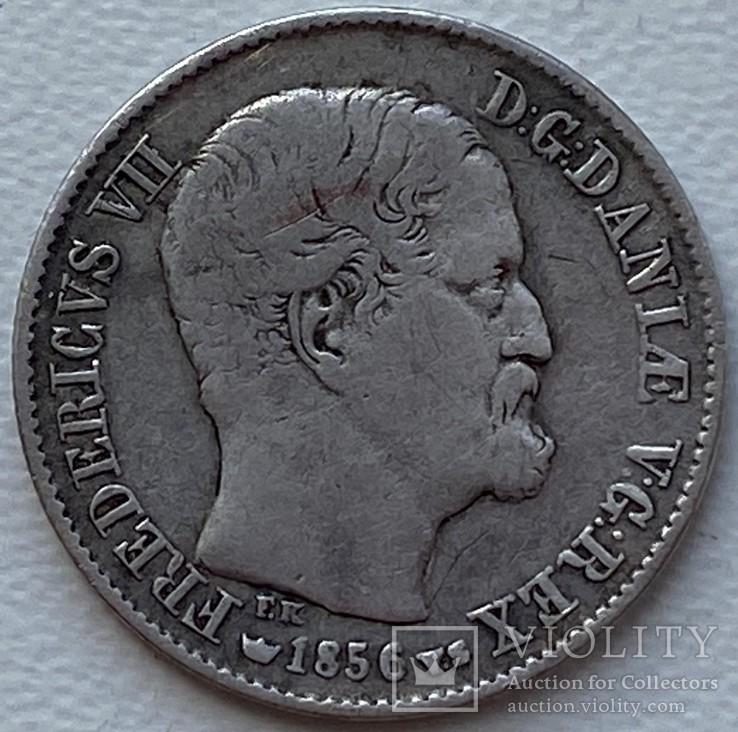 Дания 16 скиллингов 1856 год серебро, фото №3