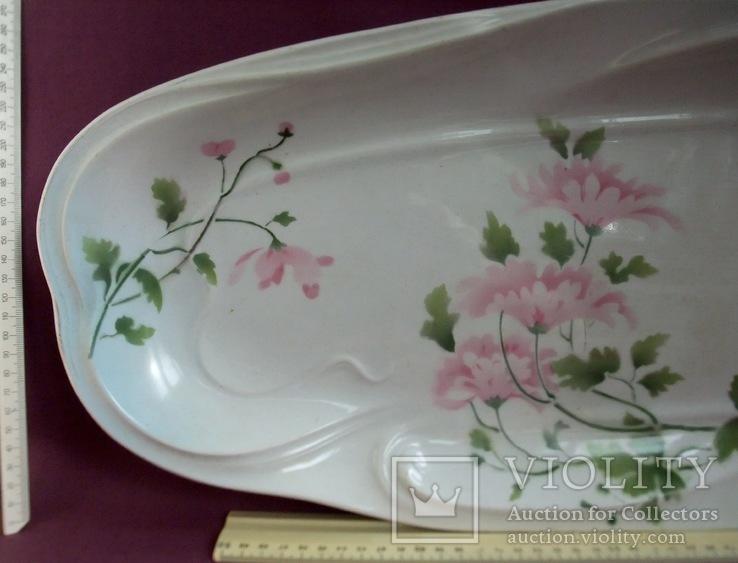 Блюдо банкетное Розовые цветы. Фарфор. Тов-во М.С.Кузнецова., фото №5