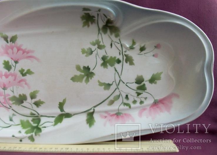 Блюдо банкетное Розовые цветы. Фарфор. Тов-во М.С.Кузнецова., фото №6