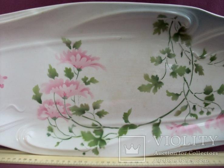 Блюдо банкетное Розовые цветы. Фарфор. Тов-во М.С.Кузнецова., фото №7