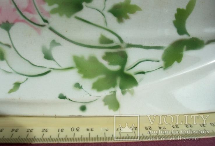Блюдо банкетное Розовые цветы. Фарфор. Тов-во М.С.Кузнецова., фото №13