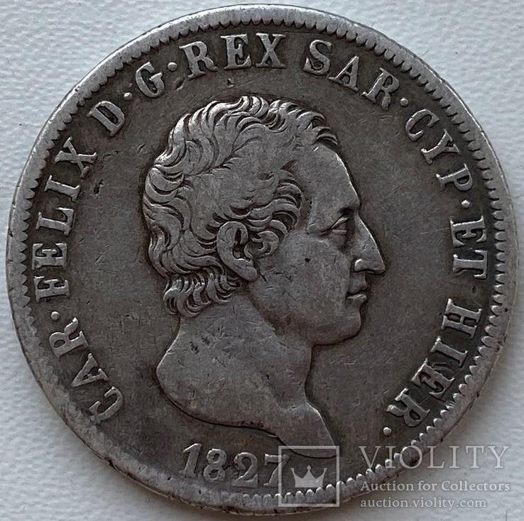 Сардиния 5 лир 1827 год Серебро, фото №2