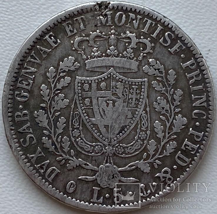 Сардиния 5 лир 1827 год Серебро, фото №3