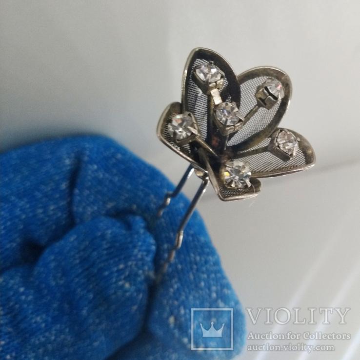 Мельхиоровая шпилька для волос с камнями, винтажная., фото №5