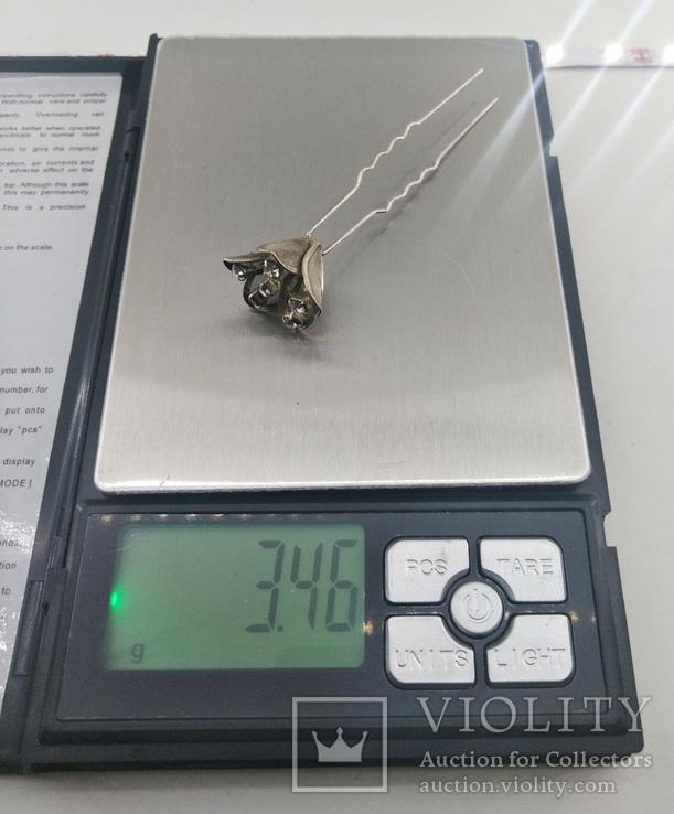 Мельхиоровая шпилька для волос с камнями, винтажная., фото №9