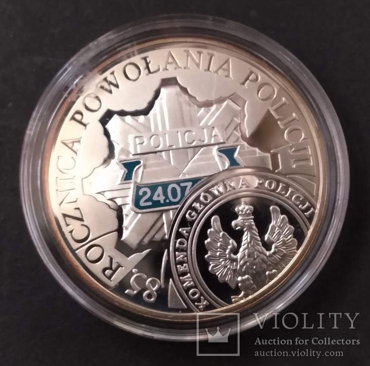 Польша 10 злотых, 2004 85 лет полиции Польши,серебро,С6, фото №4