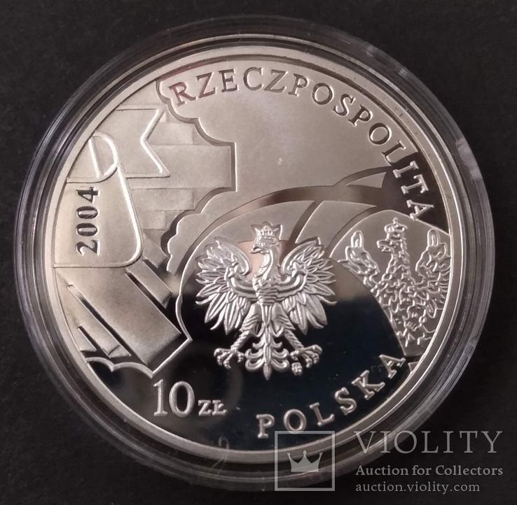 Польша 10 злотых, 2004 85 лет полиции Польши,серебро,С6, фото №5