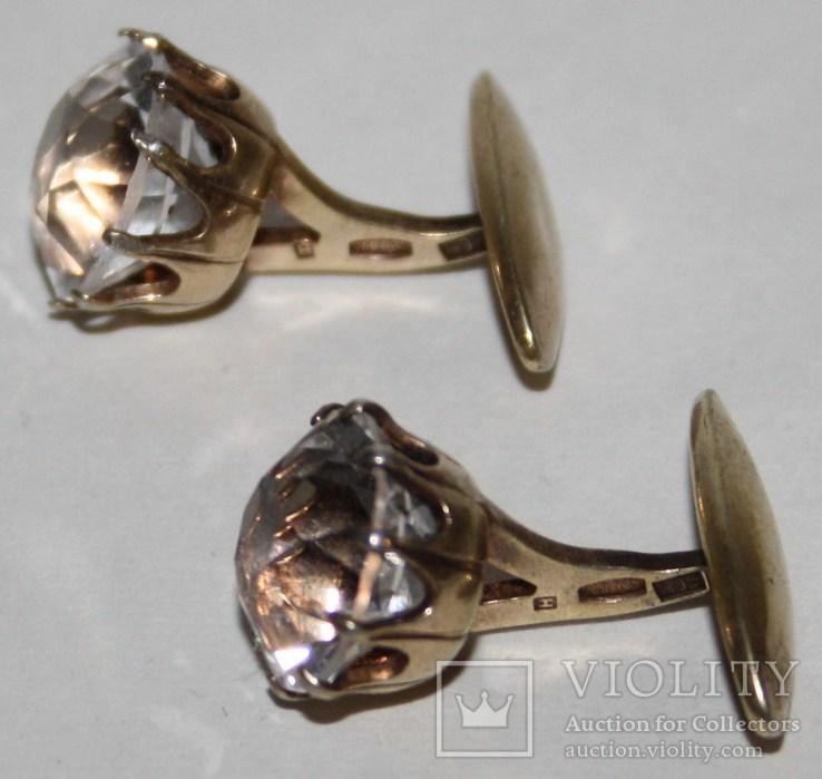Серебрянные позолоченные запонки СССР с горным хрусталём (проба 875.,РС4), фото №3