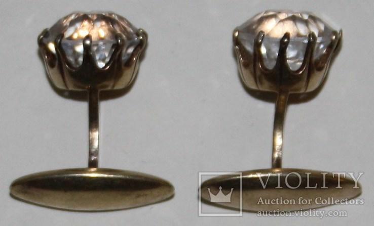 Серебрянные позолоченные запонки СССР с горным хрусталём (проба 875.,РС4), фото №5