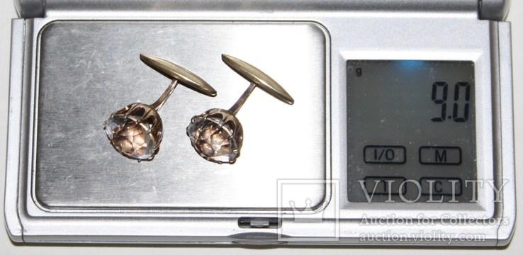 Серебрянные позолоченные запонки СССР с горным хрусталём (проба 875.,РС4), фото №11