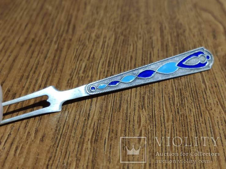 Оригинальная серебряная вилка, Россия, ручная работа, эмаль., фото №2
