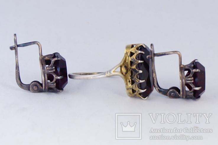 Серебряное кольцо и серьги  875, фото №5
