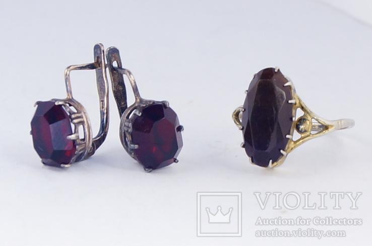 Серебряное кольцо и серьги  875, фото №6