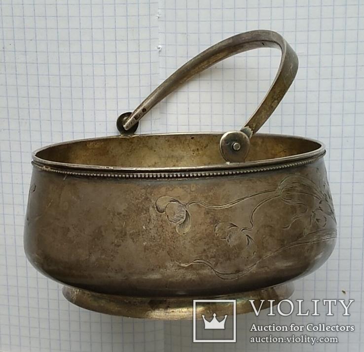Конфетница №2 периода Царской России. Серебро 84 пробы., фото №3