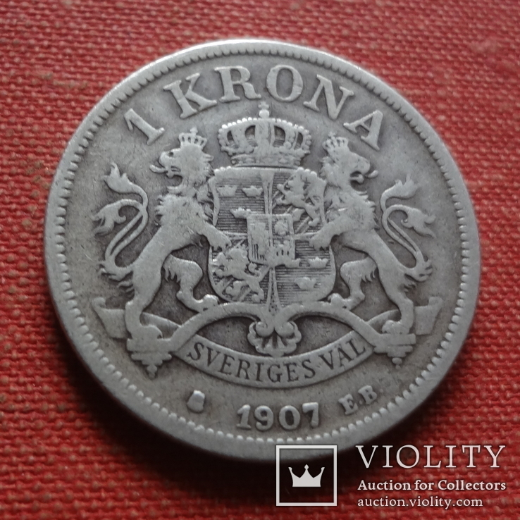 1  крона 1907  Швеция серебро    (Т.4.6)~, фото №2