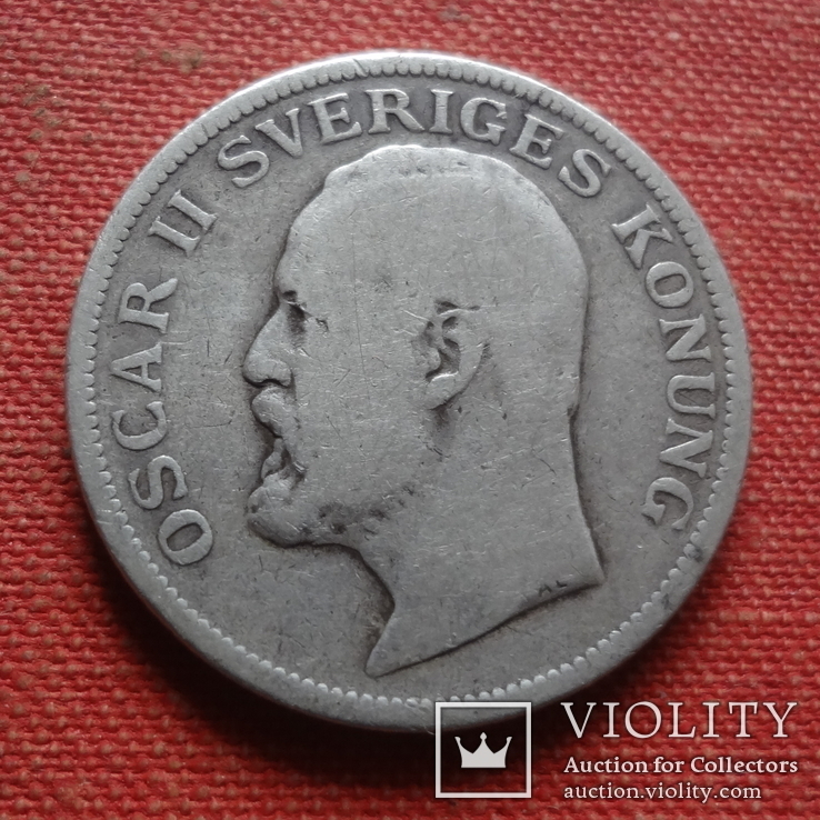 1  крона 1907  Швеция серебро    (Т.4.6)~, фото №3
