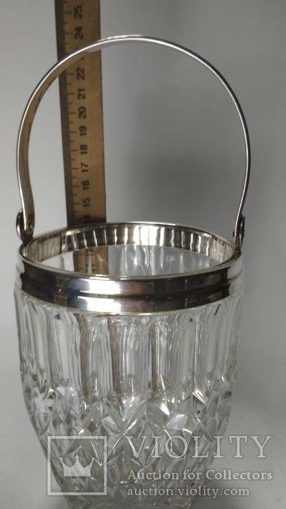 Хрустальное ведро для льда серебро, фото №4