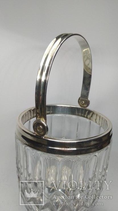 Хрустальное ведро для льда серебро, фото №10