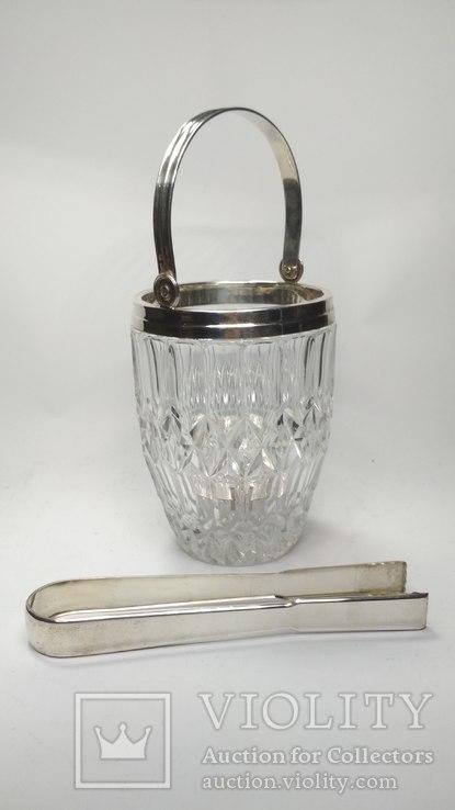 Хрустальное ведро для льда серебро, фото №2