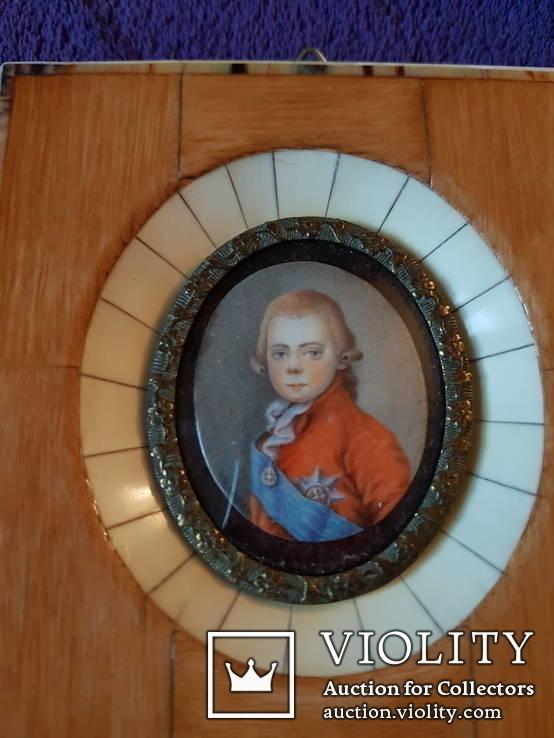 Миниатюрный портрет императора Павла в детстве с подписью автора Benner, фото №3