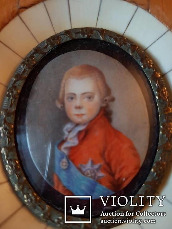 Миниатюрный портрет императора Павла в детстве с подписью автора Benner, фото №4