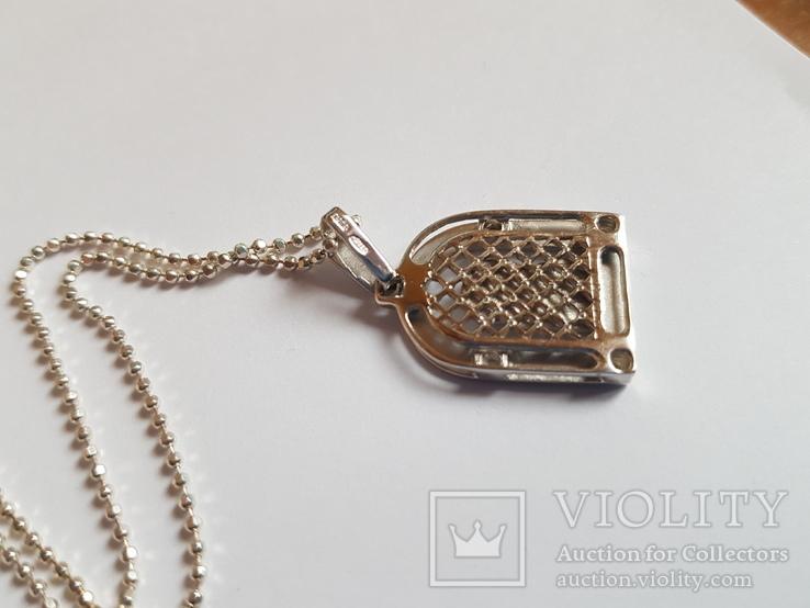 Иконка нательная Богородица + цепочка 50 см. Серебро 925 проба., фото №4