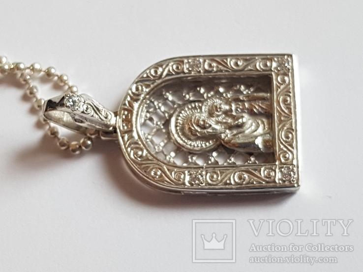 Иконка нательная Богородица + цепочка 50 см. Серебро 925 проба., фото №6