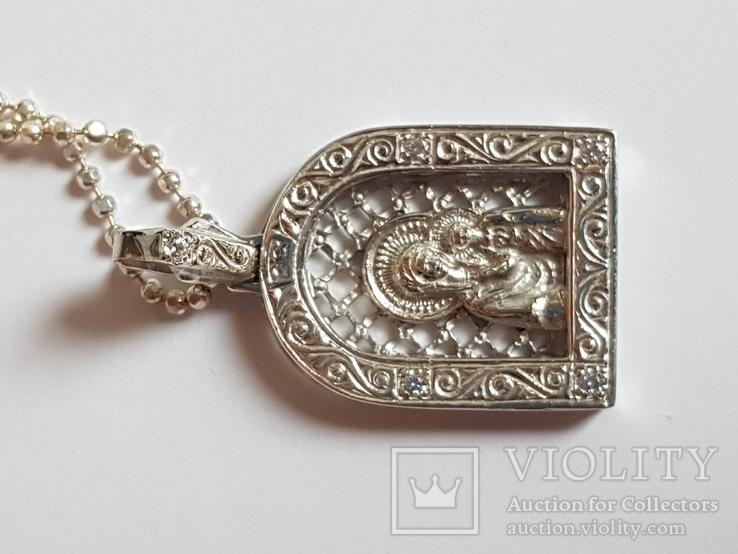 Иконка нательная Богородица + цепочка 50 см. Серебро 925 проба., фото №7