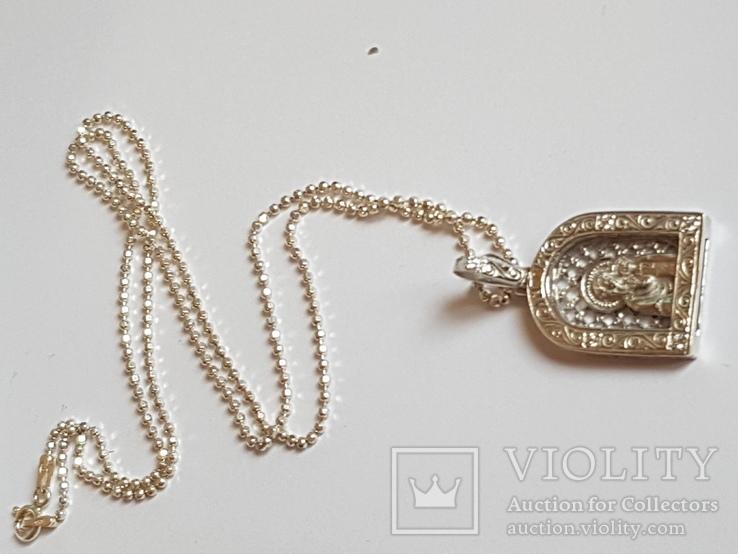 Иконка нательная Богородица + цепочка 50 см. Серебро 925 проба., фото №9