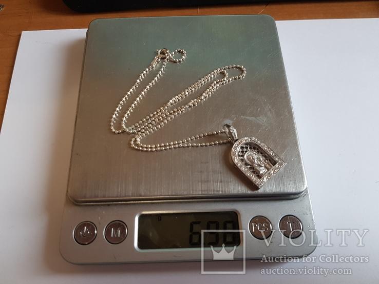 Иконка нательная Богородица + цепочка 50 см. Серебро 925 проба., фото №10
