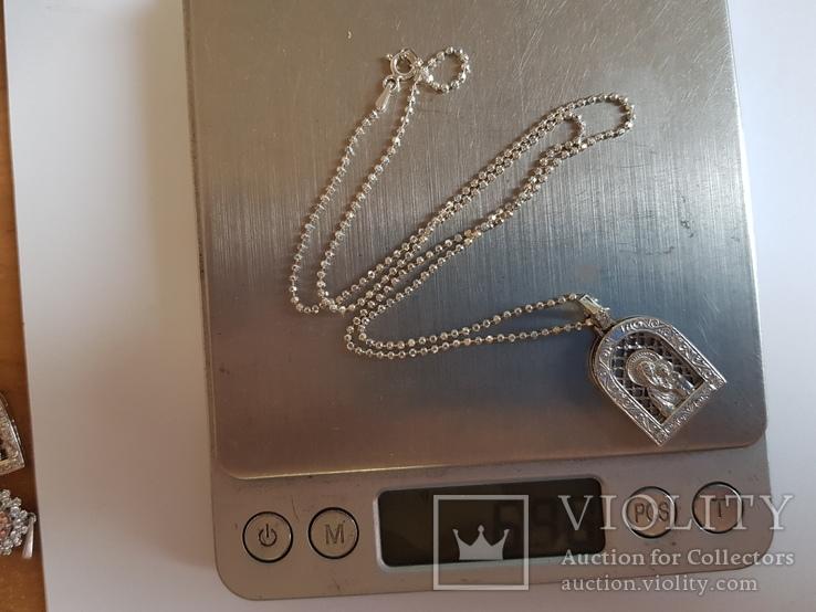 Иконка нательная Богородица + цепочка 50 см. Серебро 925 проба., фото №11
