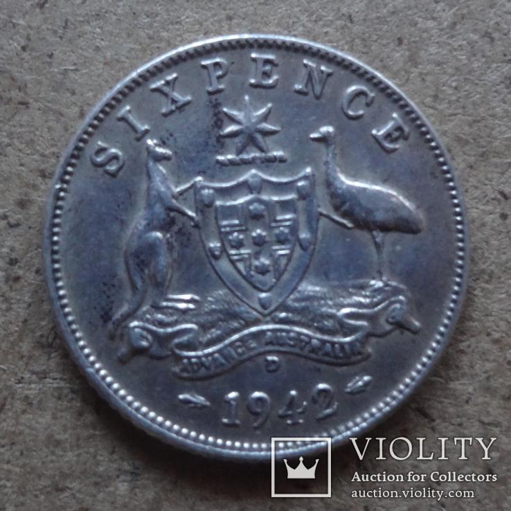 6 пенсов 1942 Австралия серебро (П.6.10), фото №2