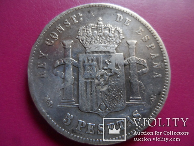5 песет 1885  Испания  серебро  (S.1.6)~, фото №3