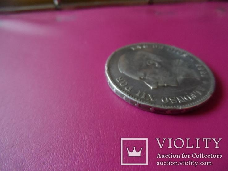 5 песет 1885  Испания  серебро  (S.1.6)~, фото №6