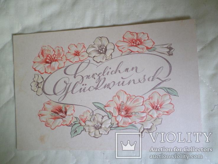 Иностранная открытка с неизвестной надписью с тиснением., фото №2