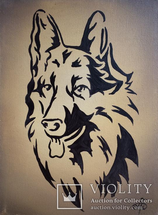 Картина, Пёс, 15х20 см. Живопись на холсте, фото №3