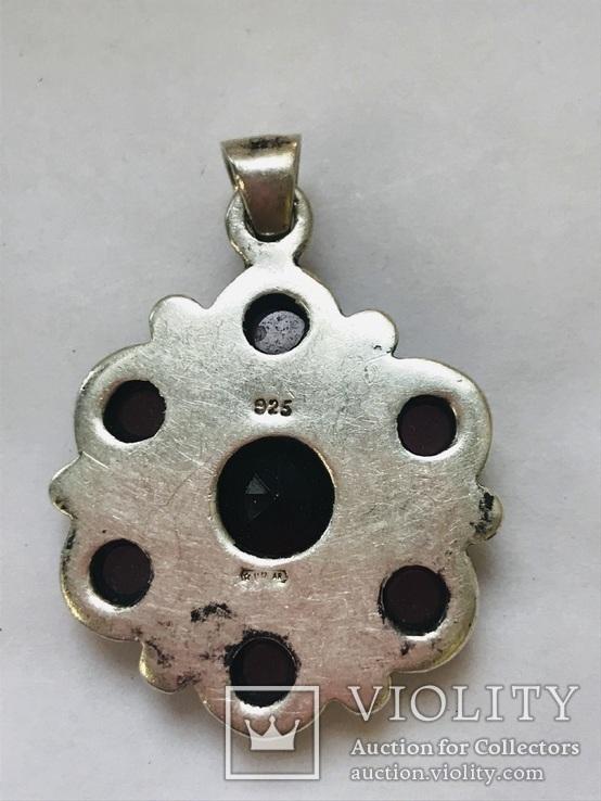 Кулон с гранатами 925, фото №4